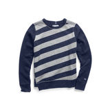 Champion Women Heritage Fleece Asymmetrical Stripe Crew W3130