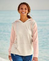 MV Sport Women's French Terry Hooded Pullover with Colorblocked Sleeves W20145