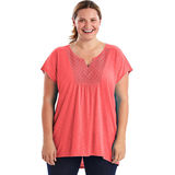 Just My Size Short-Sleeve Slub-Jersey Women's Tunic with Split V-Neck Crochet Bib Yoke OJ248