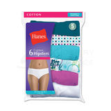 Hanes Womens No Ride Up Cotton Hipster Panties 6-Pk PP41AS