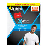 Hanes Mens X-Temp Comfort Cool Crewneck White Undershirt 4-Pack (Includes 1 Free Bonus Undershirt) 2535X4