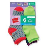 Hanes Girls Fashion ComfortBlend Ankle Socks 6-Pk 747/6