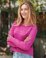 J. America Women's Odyssey Striped Performance Fleece Hi-Lo Crewneck Sweatshirt 8663