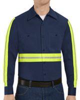 Red Kap Enhanced Visibility Long Sleeve Cotton Work Shirt SC30E