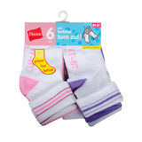 Hanes Infant/Toddler Girls' Turn Cuff Socks 6-Pack 36T6