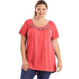 Just My Size Short-Sleeve Slub-Jersey Women's Tunic with Crochet Trim OJ247