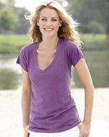 J. America Women's V-Neck Slub T-Shirt 8169