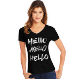 Hanes Women's Hello Hello Hello Short-Sleeve V-Neck Graphic Tee GT9337 Y07648