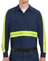 Red Kap Industrial Enhanced-Visibility Long Sleeve Work Shirt -  Long Sizes SP14EL
