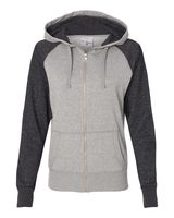 J. America Women's Glitter French Terry Hooded Full-Zip Sweatshirt 8868