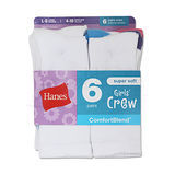Hanes Girls Crew Socks 6-Pk 631/6
