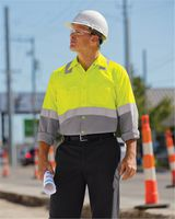Red Kap Enhanced & Hi-Visibility Long Sleeve Work Shirt - Long Sizes SY14L