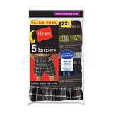 Hanes Big Mens Red Label Exposed Waistband Fashion Plaid Boxer 5-Pk MWCBX5B