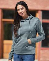 J. America Women's Odyssey Striped Performance Fleece Lapover Hooded Sweatshirt 8662
