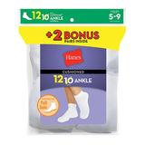 Hanes Womens Cushion Ankle Socks White 12-Pack 681/12