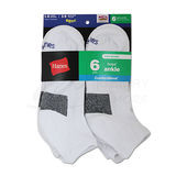 Hanes Boys ComfortBlend Assorted White Ankle Socks 6-Pk 432/6