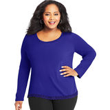 Just My Size Lace Trim Long Sleeve Top OJ384