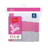 Hanes Girls No Ride Up Cotton Colored Briefs 3-Pk 1300WP