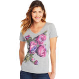 Hanes Women's Lucious Peonies Short Sleeve V-Neck Tee GT9337 Y06920