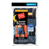 Hanes Mens TAGLESS Striped Ringer Boxer Brief with Comfort Flex Waistband 5-Pk 7347Z5