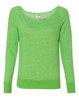 Independent Trading Co. Juniors' Wide Neck Sweaterfleece Crew PRM2400