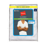 Hanes Classic Mens White V-Neck T-Shirt 6-Pk 7880W6