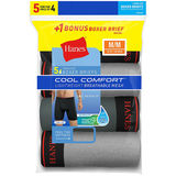 Hanes Men's FreshIQ™ Cool Comfort™ Breathable Mesh Long Leg Boxer Brief 5-Pack(4 + 1 Free Bonus Pack) LBMCBZ