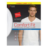 Hanes Ultimate Men's Comfort Fit White Crewneck V-Neck Undershirt 5-Pack UFT25W