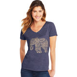 Hanes Women's Pattern Elephant Short Sleeve V-Neck Tee GT9337 Y06918