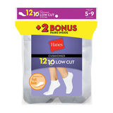 Hanes Womens Cushion Low Cut Socks White 12-Pack 680/12