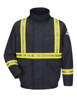 Bulwark Lined Bomber Jacket with Reflective Trim - EXCEL FR ComforTouch - Long Sizes JLJCL