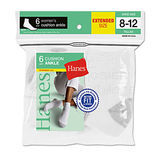 Hanes Womens Ankle Socks 6-Pk (Shoe Size 8-12) 681/6P