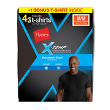 Hanes Mens X-Temp Comfort Cool Dyed Black Crewneck Undershirt 4-Pack (Includes 1 Free Bonus Undershirt) MXT1P4