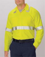 Bulwark High Visibility Long Sleeve Work Shirt Long Sizes SMW4L
