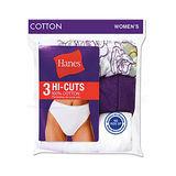 Hanes Women's Cotton Hi-Cuts 3-Pk D43LAS