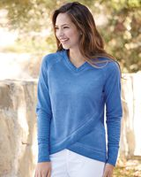 J. America Women's Oasis Wash French Terry Criss Cross V-Neck Sweatshirt 8666
