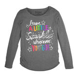 Hanes Girl's Owl Friend Shirred Sideseam Long Sleeve Tee K368