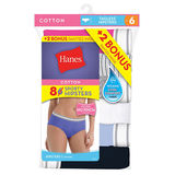 Hanes Cool Comfort Women's Cotton Sporty Hipster Panties 8-Pack P841SC