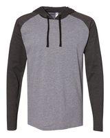 LAT Fine Jersey Long Sleeve Hooded Raglan T-Shirt 6917