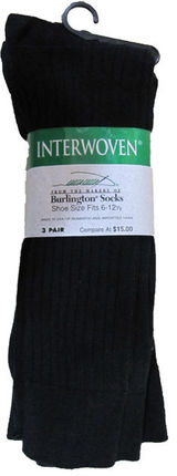 Interwoven Black Crew Sock 3 Pair 7516