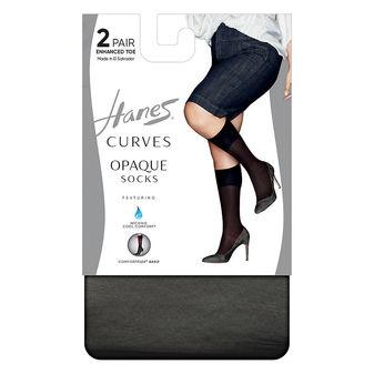 Hanes Curves Opaque Socks 2-Pack HSP021