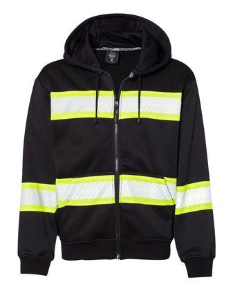 ML Kishigo Enhanced Visibility Full-Zip Hooded Sweatshirt B310