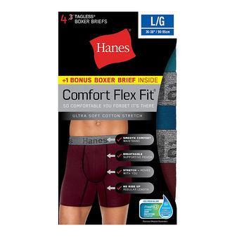 Hanes Men\'s Comfort Flex Fit® Ultra Soft Cotton Stretch Boxer Briefs 4-Pack (3 + 1 Free Bonus Pack) CFFBC4