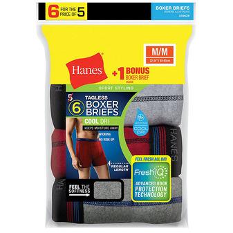 Hanes Men\'s FreshIQ Sport-Inspired Boxer Briefs 6-Pack 2396Z6