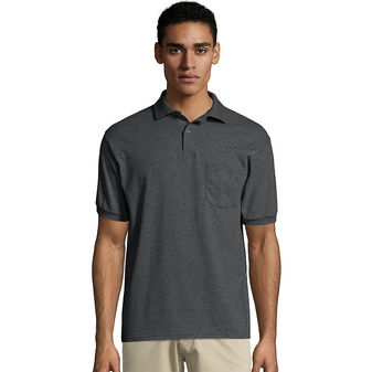Hanes Men\'s Cotton-Blend EcoSmart® Jersey Polo with Pocket 0504