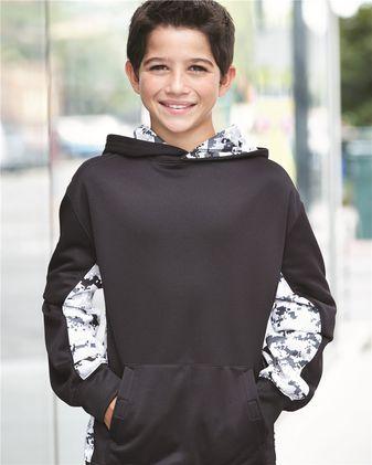 Badger Youth Digital Camo Colorblock Performance Fleece Hooded Sweatshirt 2464