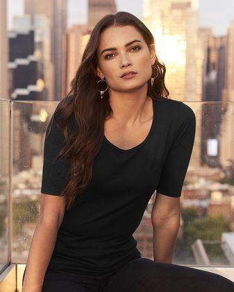 Anvil Women\'s Triblend Deep Scoopneck Three-Quarter Sleeve T-Shirt 6756L