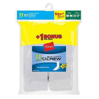 Hanes EZ-Sort® Boys\' Crew Socks 11-Pack (Includes 1 Free Bonus Pair) 421/11