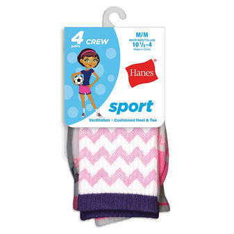 Hanes Girls\' Sport Crew Socks 4-Pack HGATC4