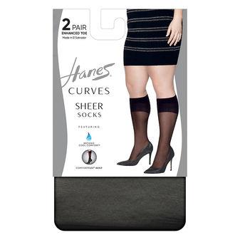 Hanes Curves Sheer Socks 2-Pack HSP020